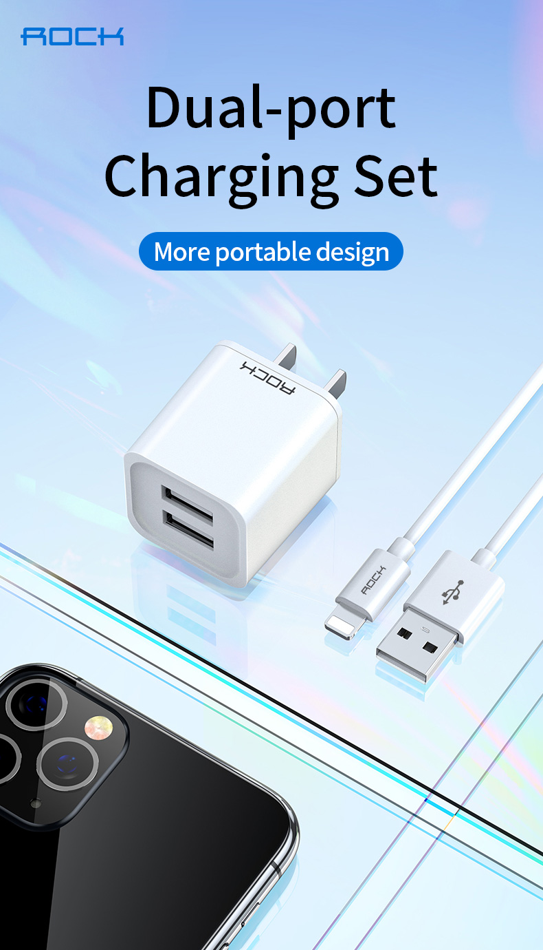 Rock T23 Double Port Travel Charger with Lighting Cable 4